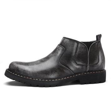 Men Vintage Style Round Toe Work Boots