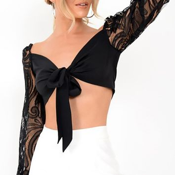 Everyone's Watching Sheer Lace Long Lantern Sleeve V Neck Tie Front Crop Blouse Top - 2 Colors Available
