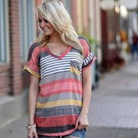 Casual Pocket Stripe T-Shirt