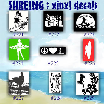 SURFING vinyl decals - 221-229 - surfing sticker - vinyl car decal - car window sticker - custom vinyl decals - vinyl decal - vinyl sticker