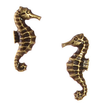 Seahorse Earrings in Antique Brass