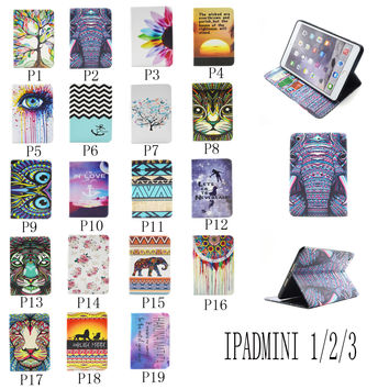 For Apple Ipad mini 1/2/3 Painting Print Flip PU Leather Case Tablet Cover with Wallet Card Holder