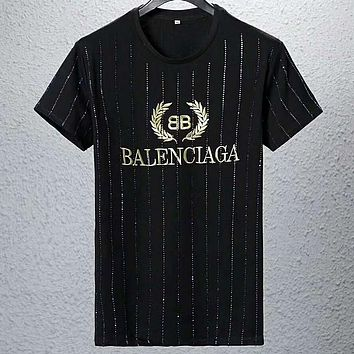 Balenciaga 2019 new striped wheat ear letter embroidered short-sleeved T-shirt Black