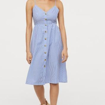 Dress with Buttons - Light blue/white striped - | H&M US