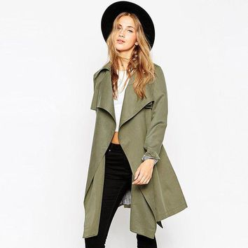 ca ICIKTM4 Army Green Shaped Windbreaker Trench Coat for Fall and Winter [9108982279]
