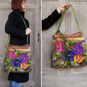 Unique felted bag with 3D  flowers with wooden handcrafted handles, designer's purse, nuno felted on silk fabric. OOAK