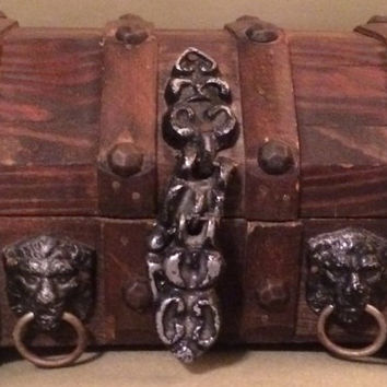 Vintage Wood Treasure Chest Jewelry Box