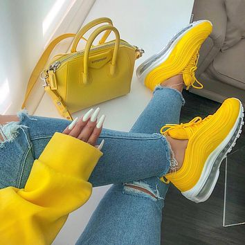 shosouvenir : Nike Air Max 97 air cushion yellow Gym shoes ad3638ab1