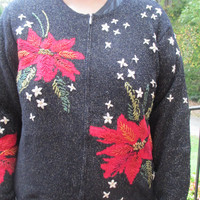 Tacky Christmas sweater, Christmas sweater, tacky Sweater, tacky holiday sweater, holiday sweater, poinsettia, black sweater, flower sweater