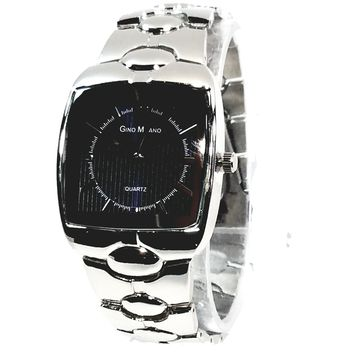 Gino Milano Silver Finish Blue Square Face Mens Casual-Dress Watch Metal Band 2357