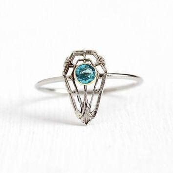 ICIKGQ8 vintage 10k white gold simulated blue zircon stick pin conversion ring 1920s size 8