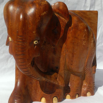 Solid Wood Elephant Bookend Lucky Elephant African Animal Art Decor Office Library Storage Figural Bookends Photo Prop Hand Carved