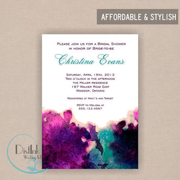 Purple Watercolor Bridal Shower Invitation or Baby Shower - Digital File Printable CUSTOMIZE the WORDING