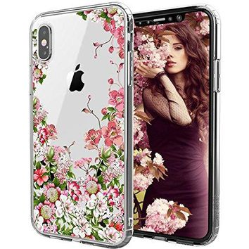 iPhone X Case, iPhone X Clear Case, MOSNOVO Floral Garden Flower Printed Clear Design Transparent Plastic Hard Slim Case with TPU Bumper Protective Cover for iPhone X / iPhone 10