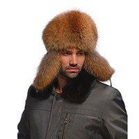 Ferrand Men's Real Genuine Fox Fur Shapka Beanie Ushanka Russian Hat Bomber Hat With Real Leather Natrual