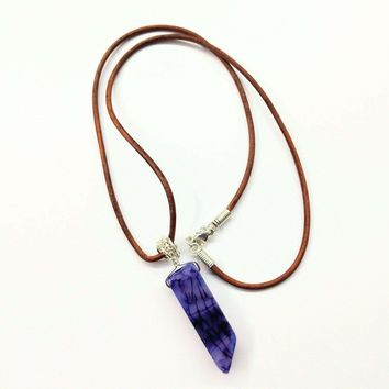 Silver Wrapped Purple Dyed Crackle Agate Point Leather Necklace