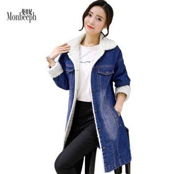 Trendy Winter Thickened Denim Jackets slim Cashmere Wool Warm Cotton Jeans Coats Women Casual Female Monbeeph  Large Size S-3XL 4XL AT_94_13
