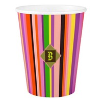 Cool Shecky colorful stripes texture with B monogr Paper Cup