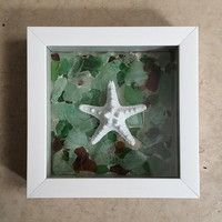 Starfish & Sea Glass Shadow Box - Original Nautical Wall Decor - Handmade in the USA -