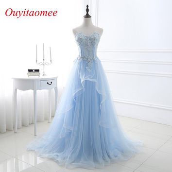 2018 New Light Blue Prom dresses Sweetheart Neckline Tulle Lace Appliqued Floor Length long Woman Evening party dresses In Stock