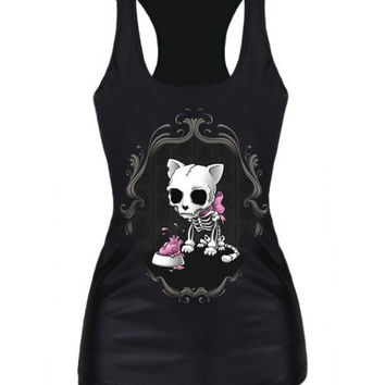 Olso knitting Free Shipping summer new 2016 women t-shirt RIBS 3D Vest tops Skull bone Camisole Sexy Tank top Despicable Me