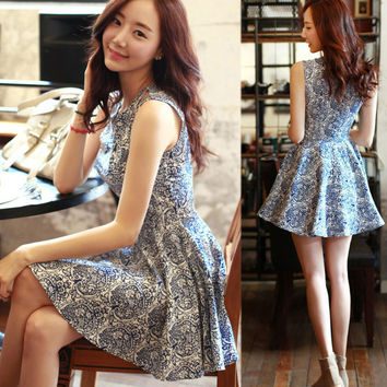 Pretty Summer OL Cotton Linen Floral Porcelain Pattern Tank Dress Women Dress