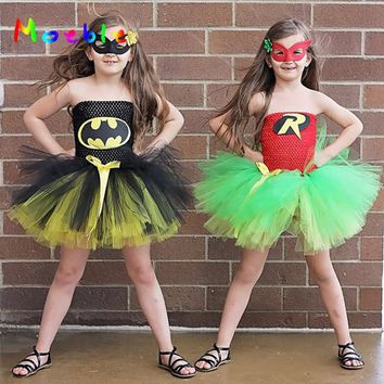 Batman Dark Knight gift Christmas Batman&Robin Children Girl Tutu Dress Super Hero Girl Halloween Costume  Kids Summer Tutu Dress Party Photography Girl Clothing AT_71_6
