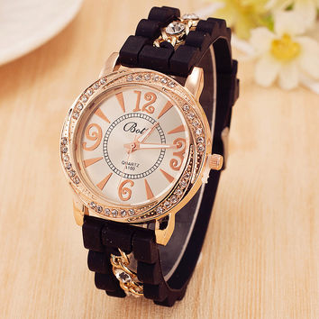 Hot Sale New Luxury Brand Silicone Watch Women Dress Quartz Watch Gold Chain Rhinestone Bracelet Watches Relogio Feminino