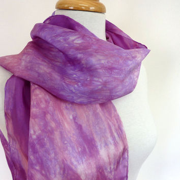 Hand Painted Silk Scarf -Lavender Pink Silk Summer Scarf- Hand Made in Australia