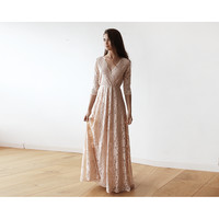 Pink V-Neck Sleeves Maxi Dress