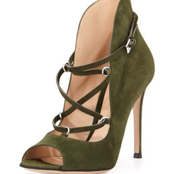 Gianvito Rossi Lace-Up Suede U-Bootie