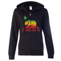 Rasta Bear Flag Silhouette Ladies Zip-Up Hoodie