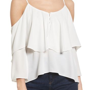Elodie Ruffle Cold Shoulder Top | Nordstrom