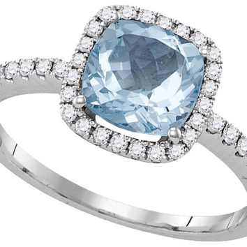 14kt White Gold Womens Princess Aquamarine Solitaire Diamond Square Frame Ring 1-1/2 Cttw 104927