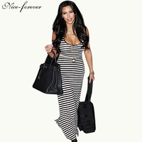 Nice-forever Plus Size Fit and Flare dresses women summer dress Sexy Sleeveless Floor-Length striped Beach Maxi dress bty724