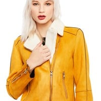 Mustard Yellow Moto Jacket with Faux Fur Collar