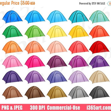 50% OFF Sale Camping Tents Clipart, Tent Clip Art, Outdoors, Hiking Trip, Summer Camp, Planner Sticker Icons, Digital, PNG, Commercial
