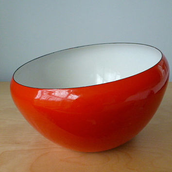Vintage French Aubecq Enamel Ware Salad Bowl, Scandinavian Decor, Red and White