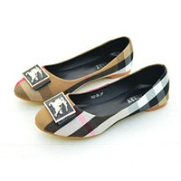 Burberry Slip-On Women Fashion Leather Flats Shoes