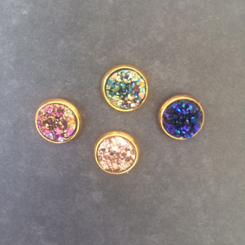 Iridescent Faux Drusy Stud Earrings