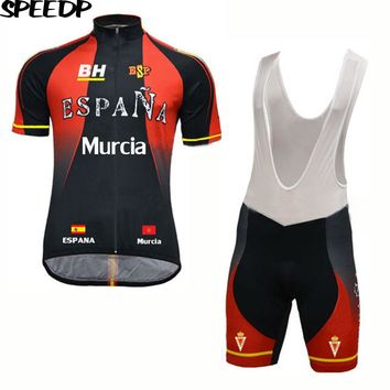 SPEED PEAK Spain Men Short Sleeve Cycling Jersey Set 3D Breathable Gel Pad Bib Short MTB ESPANA Bike Bicycle Clothing Sets