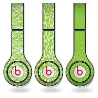 Lime Green Animal Print Set of 3 Headphone Skins for Beats Solo HD Headphones - Removable Vinyl Decal!