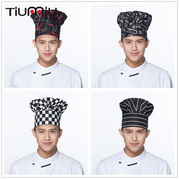 Hot Sale 7 Colors High Quality Chili Forks Print Waiter Hats Restaurant Chef Cooking Kitchen Workwear Mushroom Caps Chef Uniform