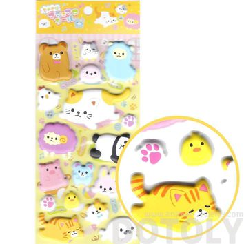 Super Puffy Kitty Cat Bunnies Bears Alpaca Animal Shaped Stickers for Scrapbooking