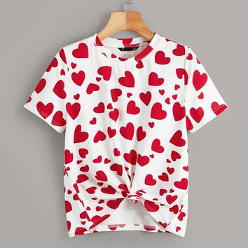 Casual Multicolor Allover Heart Print Tee T Shirt Women Round Neck Stretchy Basics Cute Tshirt Tops