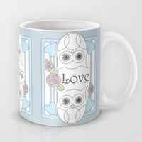 Retro Owls & Roses Love Coffee Mugs: Girly Coffee Cup Gift for Valentine's Day, Mother's Day, or Wedding