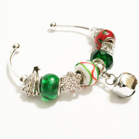 Silver Jingle Bell Bracelet - Christmas Fashion Jewelry - Open Bangle Bracelet - Stocking Stuffer - Christmas Gift - Christmas Jewelry