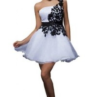 Sunvary Organza Cocktail Dresses Evening Bridesmaid Dresses White Black