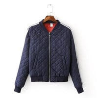 Padded Zip Up Bomber Jacket