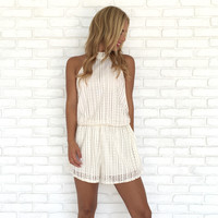 Lifestyle At Sea Halter Romper In Ivory
